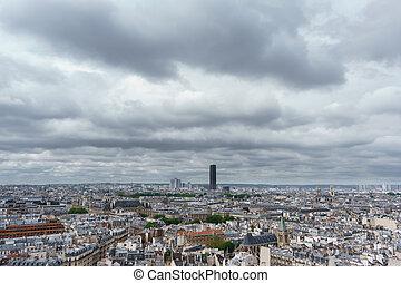 montparnasse, torre, sobre, paris, dia nublado
