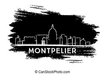 Montpelier Skyline Silhouette. Hand Drawn Sketch.