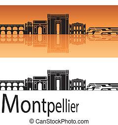 Montpellier skyline in orange background