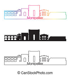 Montpellier skyline linear style with rainbow in editable...