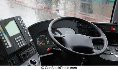 montré, autobus, fenêtre, pluie, intérieur, derrière, taxi,...
