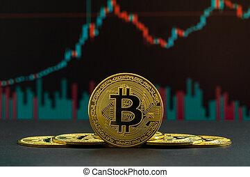 montré, graphique, candles., bitcoin, uptrend, ...
