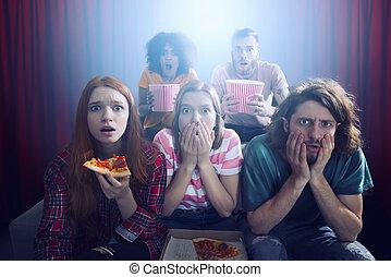 montre, amis, groupe, pellicule, cinéma