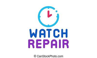 montre, animation, logo, icône, réparation