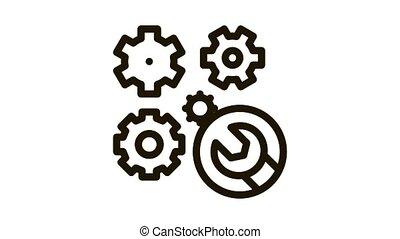montre, clé, animation, icône, engrenages