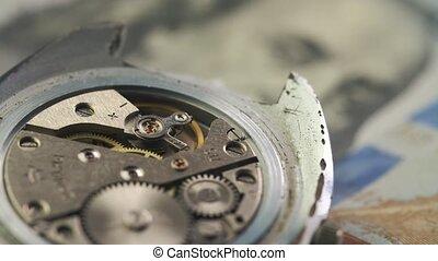 montre, dollar, haut, conduire, rouage horloge, chic, fin, billet banque.