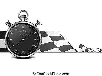 montre, drapeau course, arrêt
