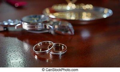 montre, femme, anneaux, homme, foyer., poignet, fond, ...