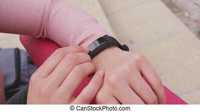 montre, femme, elle, caucasien