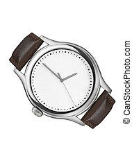 montre, isolé, poignet, fond, blanc, argent