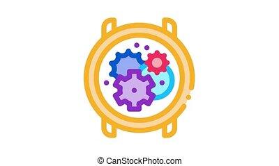 montre, mécanisme, animation, icône, engrenages