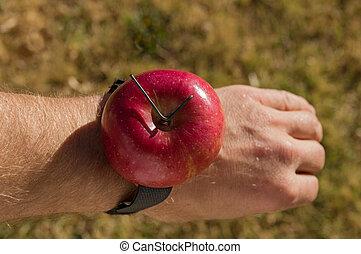 montre, pomme