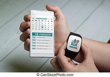 montre, regarder, téléphone, calendrier, email, intelligent, homme