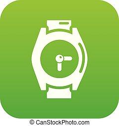 montre, vecteur, vert, main, icône
