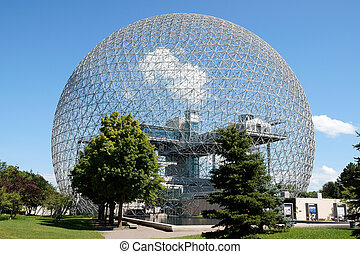 The geodesic dome called Biosphère is a museum in Montreal dedicated to water and the environment. It is located at Parc Jean-Drapeau, on Saint Helen's Island in the building of the United States pavilion for the 1967 World Exhibition Expo 67.