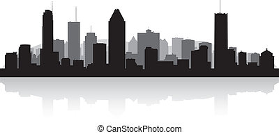 Montreal Canada city skyline vector silhouette - Montreal ...