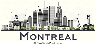 Montreal Canada City Skyline with Gray Buildings Isolated on White Background. Vector Illustration. Business Travel and Tourism Concept with Historic Architecture. Montreal Cityscape with Landmarks.