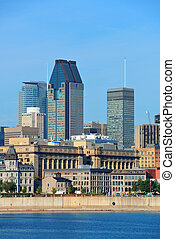 Montreal city skyline over river