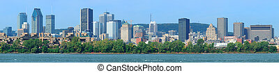 Montreal city skyline over river panorama