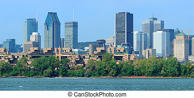 Montreal city skyline over river panorama