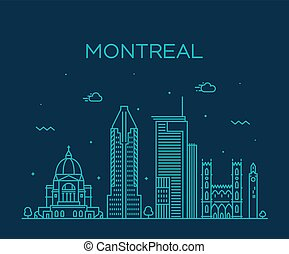 Montreal city skyline, Quebec, Canada. Trendy vector illustration linear style