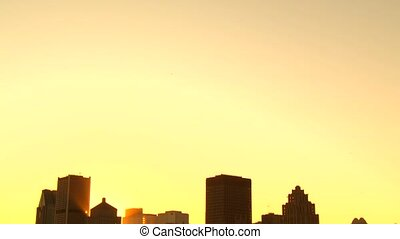 Sunset in Montreal down town