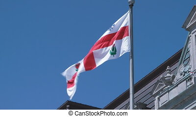 Montreal Flag - The Municipal Flag Of Montreal Against A...