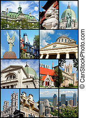 Montreal landmarks collage, Canada