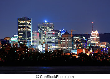 Montreal over river at dusk