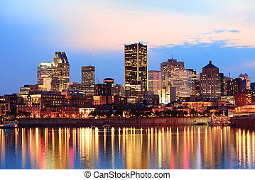 Montreal over river at sunset