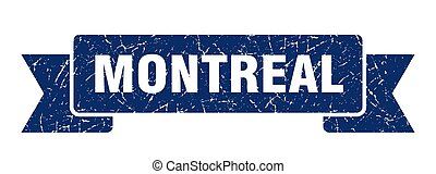 Montreal ribbon. Blue Montreal grunge band sign