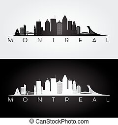 Montreal skyline and landmarks silhouette. - Montreal ...