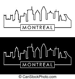 Montreal skyline. Linear style. Editable vector file.