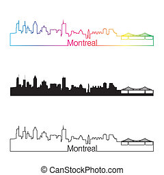 Montreal skyline linear style with rainbow in editable...