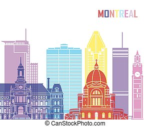 Montreal skyline pop in editable vector file