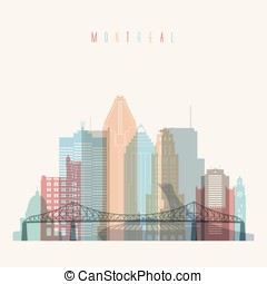 Montreal skyline poster - Transparent styled Montreal...