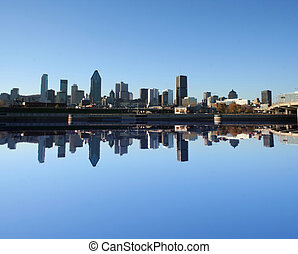 Montreal skyline reflected in water illustration