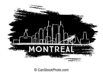 Montreal Skyline Silhouette. Hand Drawn Sketch.