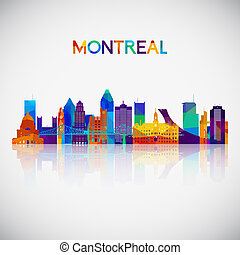 Montreal skyline silhouette in colorful geometric style.