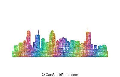 Montreal skyline silhouette - multicolor line art