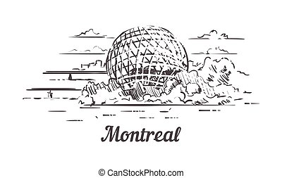 Montreal skyline sketch. Montreal, France hand drawn illustration isolated