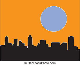 Montreal Skyline With Blue Moon