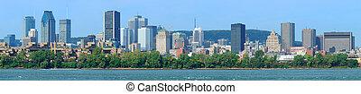 montreal, stadt skyline, aus, fluß, panorama