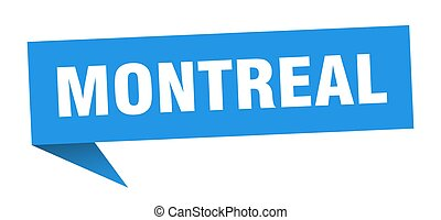 Montreal sticker. Blue Montreal signpost pointer sign