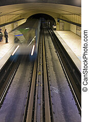 Montreal Subway Blur - Montreal subway arriving at the...