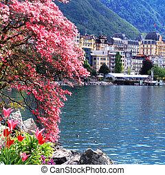 Montreux and Lake Geneva, Switzerland.