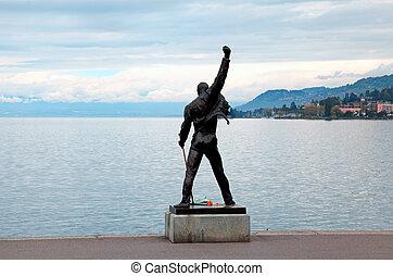 montreux, suiza, -, poder, 09:, freddie, mercurio, estatua,...