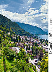 Montreux town and Lake Leman in Switzerland