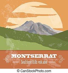 Montserrat landmarks. Retro styled image. Vector...
