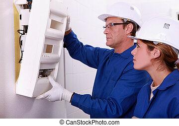 monture, électricien, électrique, mètre, apprenti